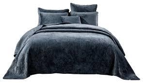 navy blue velvet plush waves bedspread