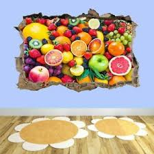 Fruits Kitchen Dining Room Home Office Bedroom Smashed 3d Wall Art Stickers Ad42 Ebay