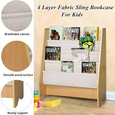 Kids Bookshelf 4 Layer Kids Book Rack Sling Bookshelf Book Display Stand Bookcases Book Shelves For Children Floor Display Stand Kindergarten Magazine Rack Wish