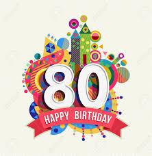 Feliz Cumpleanos 80 Anos Ochenta Tarjeta De Felicitacion