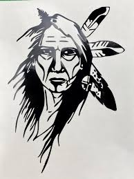 Native American Warrior Black Vinyl Decal New Etsy In 2020 Native American Drawing Native American Warrior Native American Tattoo Designs