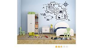 Amazon Com Wall Decal Sticker Bedroom Pirate Map Treasure Gold Island Cartoon Kids Girls Boys Teenager Room 439b Baby