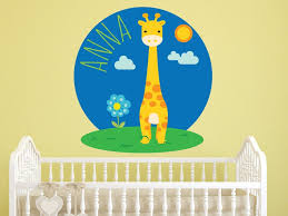 Giraffe Name Wall Decal Safari Wall Decor Children Etsy