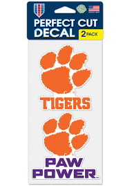 Clemson Tigers 4x4 Inch 2 Pack Perfect Cut Auto Decal Orange 5718028