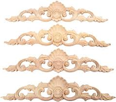 Amazon Com Muxsam 4pcs Wood Appliques Onlays For Furniture 30x6 5cm 11 81 X3 56 Center Decal Door Cabinet Dresser Carved Flower Decoration Furniture Decor