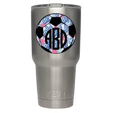 Yeti Tumbler Decal Yeti Cup Decal Monogram Soccer Ball Sports Decals Stickers Lilly Inspired Monogrammed Vinyl Dec Decals For Yeti Cups Cup Decal Tumbler Decal