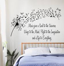 Dandelion Wall Decals Quote Music Gives A Soul To The Universe Etsy