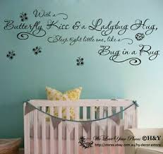 Wall Art Quote Vinyl Decal Butterfly Kiss Lady Bug Hug Kids Nursery Stickers Ebay