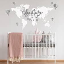 Adventure Awaits Nursery World Map Adventure Wall Decal Etsy