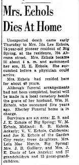 Ida Carter Echols 1943 obit - Newspapers.com