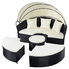 rattan round retractable canopy daybed