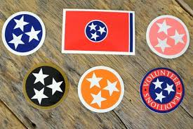 Tennessee Tristar Decals State Flag Volunteer Traditions Car Stickers For Hca The Red White And Blue Square For Me Car Decals Tennessee Tristar Flag Decal