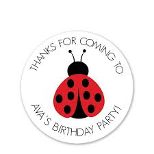 Ladybug Party Favor Stickers Round Pipsy