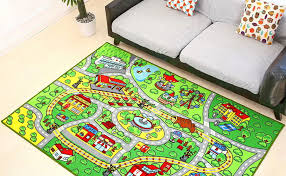 Amazon Com City Street Map Kids Rug With Roads Kids Rug Play Mat With School Hospital Station Bank Hotel Book Store Government Workshop Farm For Boy Girl Nursery Bedroom Playroom Classroom 39 X