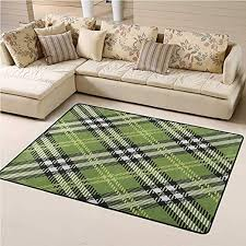 Amazon Com Outdoor Rug Checkered For Kids Yoga Living Room Home Decor Classical Celtic Pattern Symmetrical Stripes And Squares Print 4 X 6 Ft Fern Green Black Pale Yellow Kitchen Dining