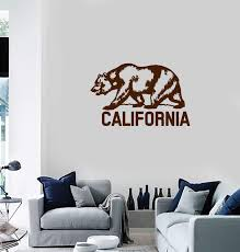 Vinyl Wall Decal California Grizzly Bear Flag Usa State Home Interior Wallstickers4you