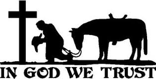 Cowboy Praying At Cross With His Horse In God We Trust Vinyl Cut Decal