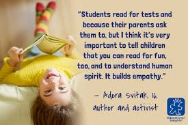 """motivational quote by adora svitak """"reading builds empathy"""