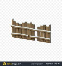 Download Low Poly Snow Covered Wooden Fence Transparent Png On Yellow Images 360