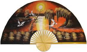 Amazon Com Large 60 Folding Wall Fan Asian Sunrise Original Hand Painted Home Kitchen