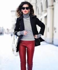 how to wear red leather pants for women