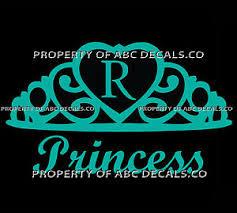 Vrs Crown Royal Tiara Queen Princess Heart Love Custom Initial R Car Vinyl Decal Ebay