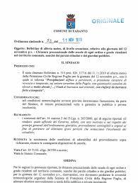 MALTEMPO, DOMANI SCUOLE CHIUSE A TARANTO