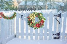 Royalty Free Photo Green And Red Christmas Wreath On White Wooden Fence Pickpik