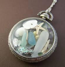 sea glass locket pendant vintage