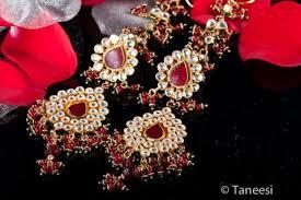 red chandelier earrings kundan