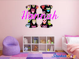Multicolored Owls Monogram Name Girls Room Vinyl Wall Decal Graphics