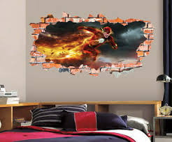 The Flash Wall Decal Smashed Wall Art Sticker Home Decor Kids Mural Marvel Lt39 Ebay