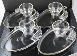 crystal snack plates with cups