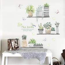 Green Plant Wall Decal Bonsai Flower Butterfly Cactus Wall Stickers Diy Mural Art Decoration For Living Room Bedroom Kitchen Walmart Com Walmart Com
