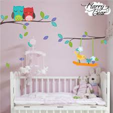 Tree And Owls Nursery Wall Stickers Kids Vinyl Wall Decals Wall Graphics Ebay