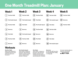 a one month treadmill workout to get