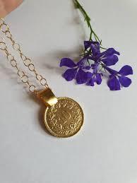 gold coin necklace coin pendant
