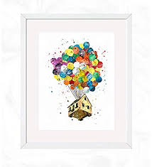 Amazon Com Balloons House Prints Disney Up Watercolor Nursery Wall Poster Holiday Gift Kids And Children Artworks Digital Illustration Art Handmade