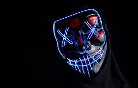 wallpaper light neon mask black