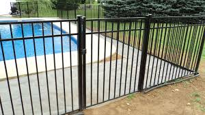 Black Aluminum Boca Code Swimming Pool Fence Gate With Magna Latch And Self Closing Hinges Pool Fence Pool Fence