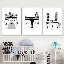 2020 Wall Pctures For Boys Room Indian Animal Art Posters Rabbit Fox Tiger Canvas Painting Nordic Decoration Kids Bedroom Unframed From Maggiequan 9 04 Dhgate Com