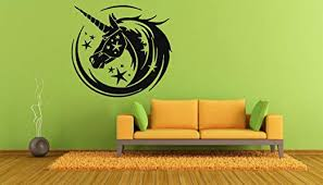 Amazon Com Wall Decals Decor Viny Magic Unicorn Horn Ornament Beard Pattern Horse Mane Performed Tale Dreams Star Lm0556 Home Kitchen