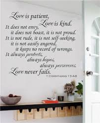 Love Is Patient Love Is Kind Christian Bible Verse Vinyl Decal Wall Stickers Letters Words Home Decor Gift