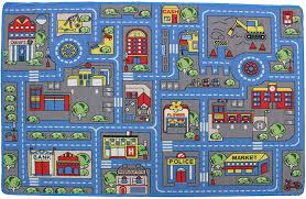 Amazon Com Mybecca Kids Rug Town Map 8 X 11 Childrens Area Street Map Non Skid Backing 7 10 X 11 3 Kitchen Dining
