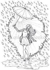 Kleurplaat Voor Volwassenen Kleurplaat Gelukkig Regen Etsy