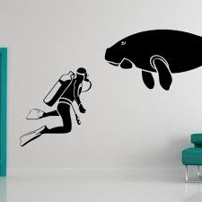 Scuba Diver Dugong Swimming Decal Vinyl Sticker Wall Home Decor Vinylwallaccents On Artfire
