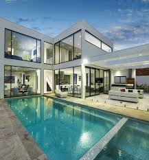 contemporary house architecture with a