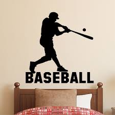 Sports Wall Decal Baseball Player Silhouette Kids Lettering