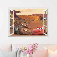 Lightning Mcqueen New Disney Cartoon Movie 3dview Cars Window Wall Sticker For Kids Room Mural Art Home Decoration Wall Stickers Aliexpress