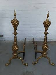 iron fireplace andirons claw foot